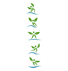 eco plants people graphi set of design vector image
