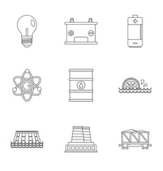 Energy icon set outline style vector