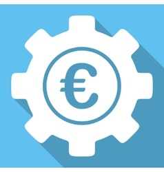 Euro Development Flat Square Icon with Long Shadow vector image