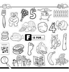f is for educational task coloring book vector image