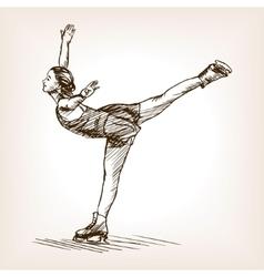 Figure skater girl sketch vector image