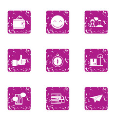 Financial hub icons set grunge style vector