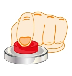 Finger on red button vector image