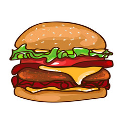 Flat colorful burger concept vector