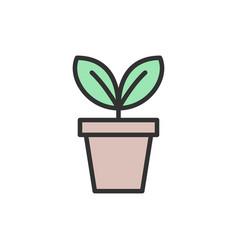 Flower in pot flowerpot flat color line icon vector