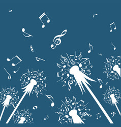 flowers of dandelion with music notes vector image