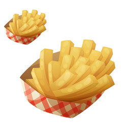 french fries in the paper basket icon vector image