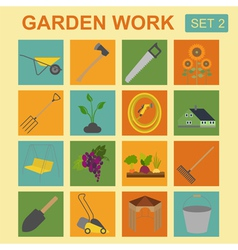 Garden work icon set Working tools vector image