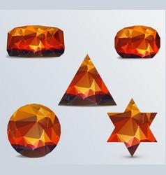 geometric shapes set luminous rubies vector image