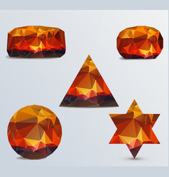 geometric shapes set of luminous rubies vector image