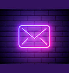 glowing neon line envelope icon isolated on brick vector image