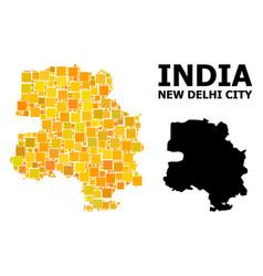 Gold square mosaic map new delhi city vector