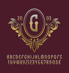Golden monogram template in splendid floral vector