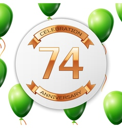 Golden number seventy four years anniversary vector image