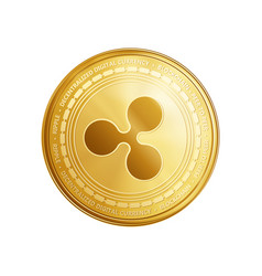 Golden ripple blockchain coin symbol vector