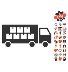 goods transportation truck icon with love bonus vector image vector image