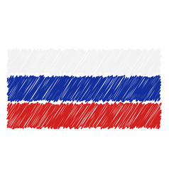hand drawn national flag of russia isolated on a vector image