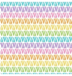 Hand drawn rainbow triangles on white background vector