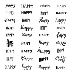 Happy lettering collection set 36 hand drawn vector