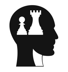 head with queen and pawn chess icon simple style vector image