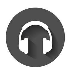 headphone icon earphone headset sign on black vector image