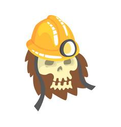 human skull wearing mining helmet lying in the vector image
