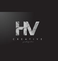 hv h v letter logo with zebra lines texture vector image