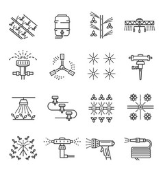 irrigation farm equipment thin line icons set vector image