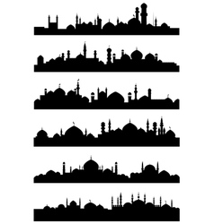 Islamic or arabic cityscape black silhouettes vector image