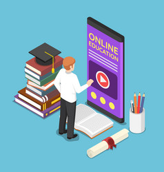 Isometric businessman using e-learning or online vector
