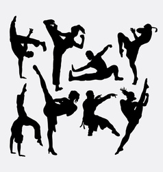 Kungfu martial arts silhouettes vector