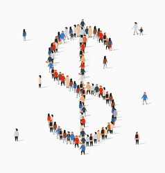 large group people in form us dollar sign vector image