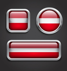 Latvia flag glass buttons vector image