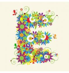 Letter E floral design vector