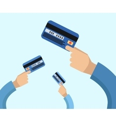 Many hands hold a credit cards vector image
