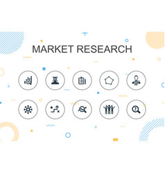 Market research trendy infographic template thin vector