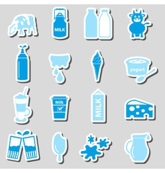 Milk and milk product theme stickers set eps10 vector