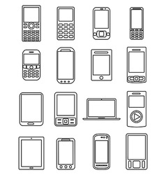 Mobile phones line icons set vector image