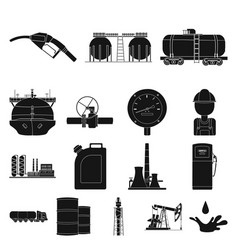 Oil industry black icons in set collection for vector