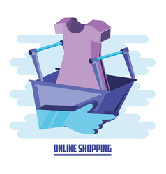 on line shopping with basket add vector image
