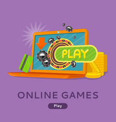 online games concept flat style web banner vector image