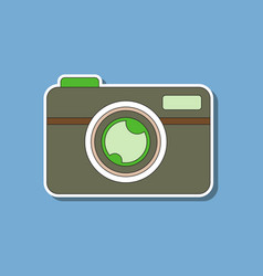 paper sticker on background of camera vector image