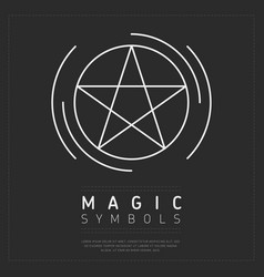 Pentagram icon in white lines vector