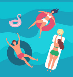 people swimming happy sea vacations man woman in vector image