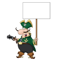 pirate with blank sign vector image