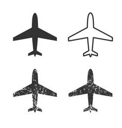 plane icon shape set grunge vector image