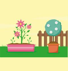 plants decoration gardening flat design vector image
