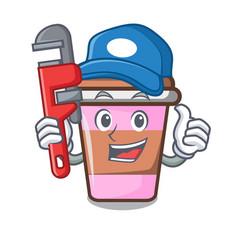 Plumber coffee cup mascot cartoon vector