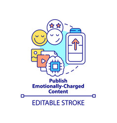 Publish emotionally-charged content concept icon vector