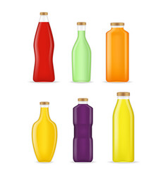 realistic detailed 3d different types juice bottle vector image